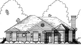 House Plan 77165 | Traditional Style Plan with 1441 Sq Ft, 3 Bedrooms, 2 Bathrooms, 2 Car Garage Elevation