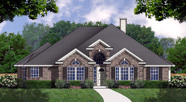 One-Story, Traditional House Plan 77169 with 3 Beds, 2 Baths, 2 Car Garage Elevation