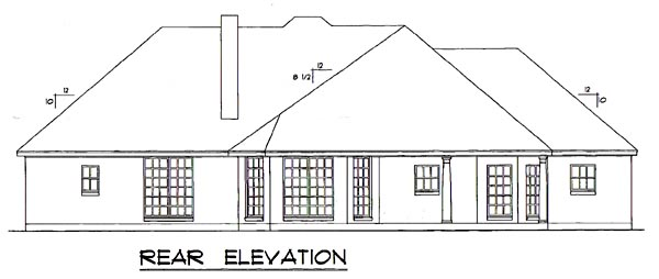 House Plan 77171 | European Style Plan with 2149 Sq Ft, 3 Bedrooms, 2 Bathrooms, 2 Car Garage Rear Elevation