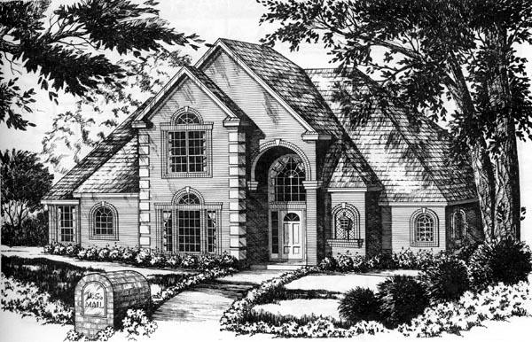 European Traditional House Plan 77174 Elevation