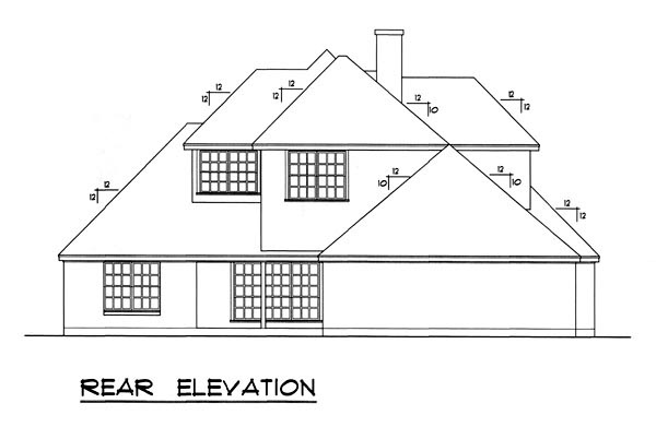 European Traditional House Plan 77174 Rear Elevation