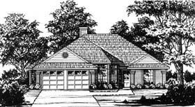 Traditional House Plan 77182 with 3 Beds, 2 Baths, 2 Car Garage Elevation