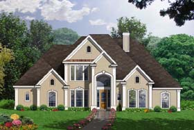 Traditional House Plan 77184 with 5 Beds, 4 Baths, 3 Car Garage Elevation