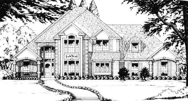 European Traditional House Plan 77189 Elevation