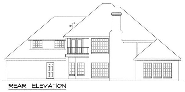 European Traditional House Plan 77189 Rear Elevation