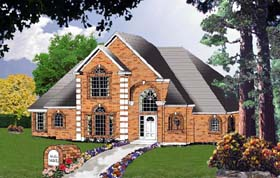 House Plan 77198 | European Traditional Style Plan with 2225 Sq Ft, 3 Bedrooms, 3 Bathrooms, 2 Car Garage Elevation