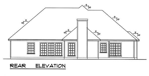 Traditional House Plan 77201 Rear Elevation