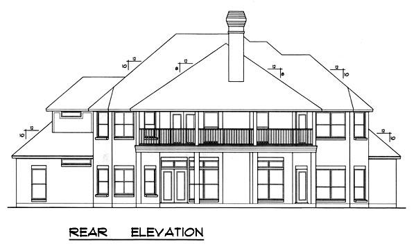 European House Plan 77208 Rear Elevation
