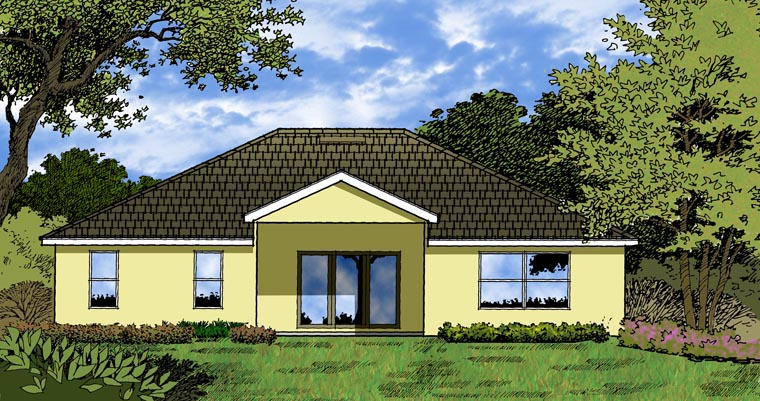 Traditional House Plan 77338 with 3 Beds , 2 Baths , 2 Car Garage Rear Elevation