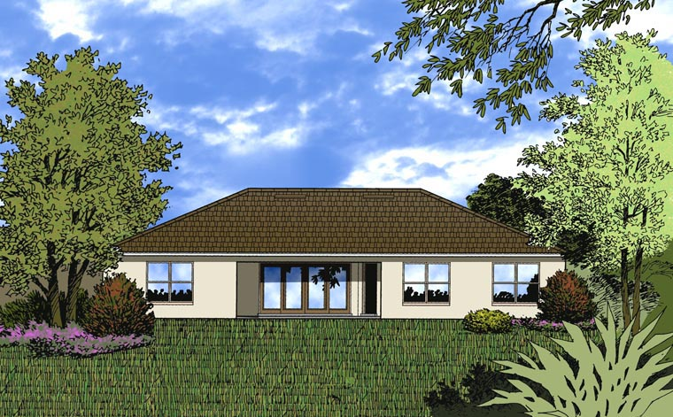 Contemporary House Plan 77344 with 3 Beds, 3 Baths, 2 Car Garage Rear Elevation