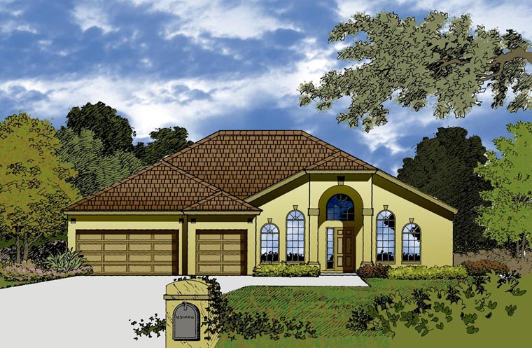 House Plan 77351 with 4 Beds, 2 Baths, 3 Car Garage Elevation
