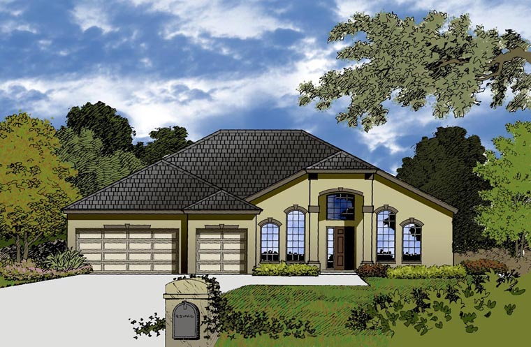 House Plan 77352 with 4 Beds, 2 Baths, 3 Car Garage Elevation