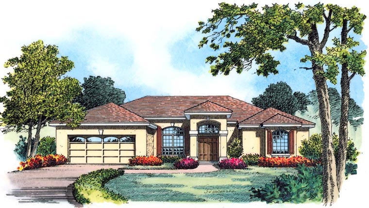 House Plan 77354 with 4 Beds, 3 Baths, 3 Car Garage Front Elevation