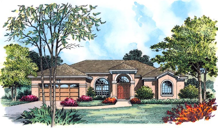 House Plan 77355 with 4 Beds, 3 Baths, 2 Car Garage Elevation