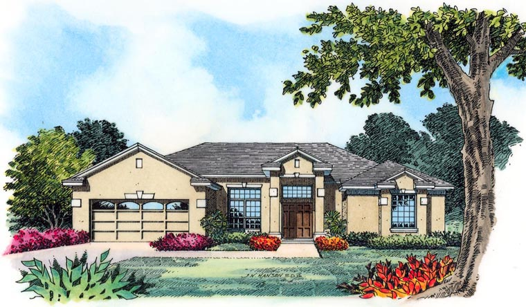 House Plan 77356 with 4 Beds, 3 Baths, 2 Car Garage Elevation