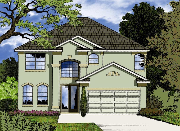 House Plan 77357 with 4 Beds, 3 Baths, 2 Car Garage Elevation