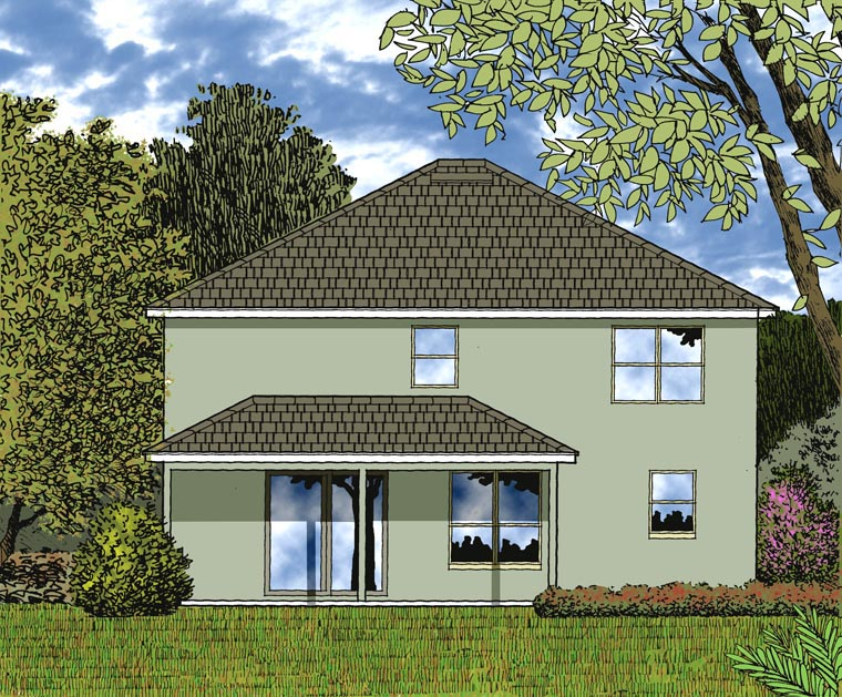 House Plan 77357 with 4 Beds, 3 Baths, 2 Car Garage Rear Elevation