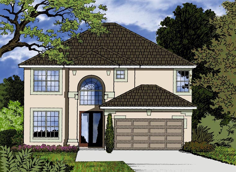 House Plan 77358 with 4 Beds, 3 Baths, 2 Car Garage Elevation