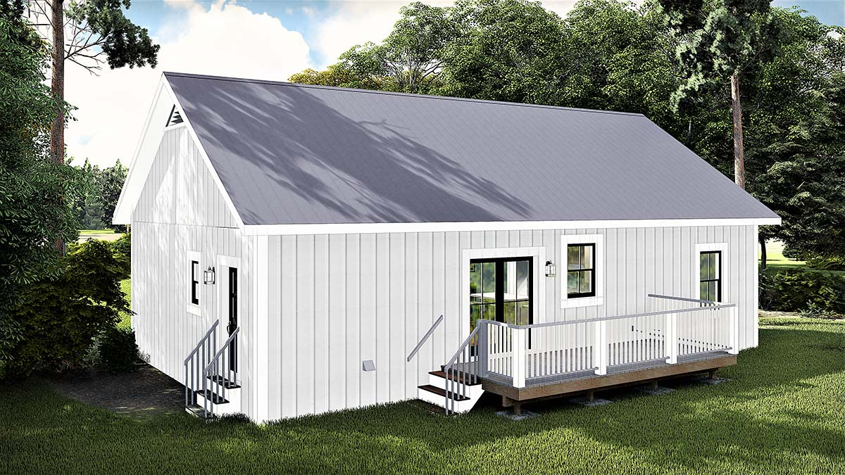 Cottage , Country House Plan 77400 with 3 Beds, 2 Baths Rear Elevation