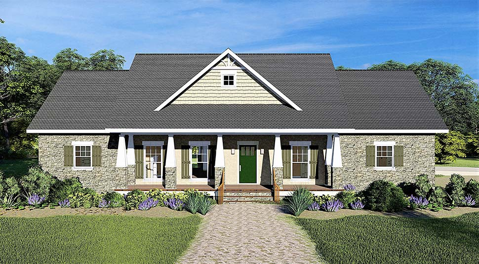 Country, Craftsman, Traditional House Plan 77401 with 3 Beds, 3 Baths, 2 Car Garage Elevation