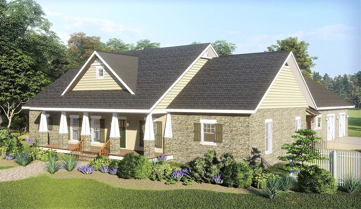 Country, Craftsman, Traditional House Plan 77401 with 3 Beds, 3 Baths, 2 Car Garage Picture 1