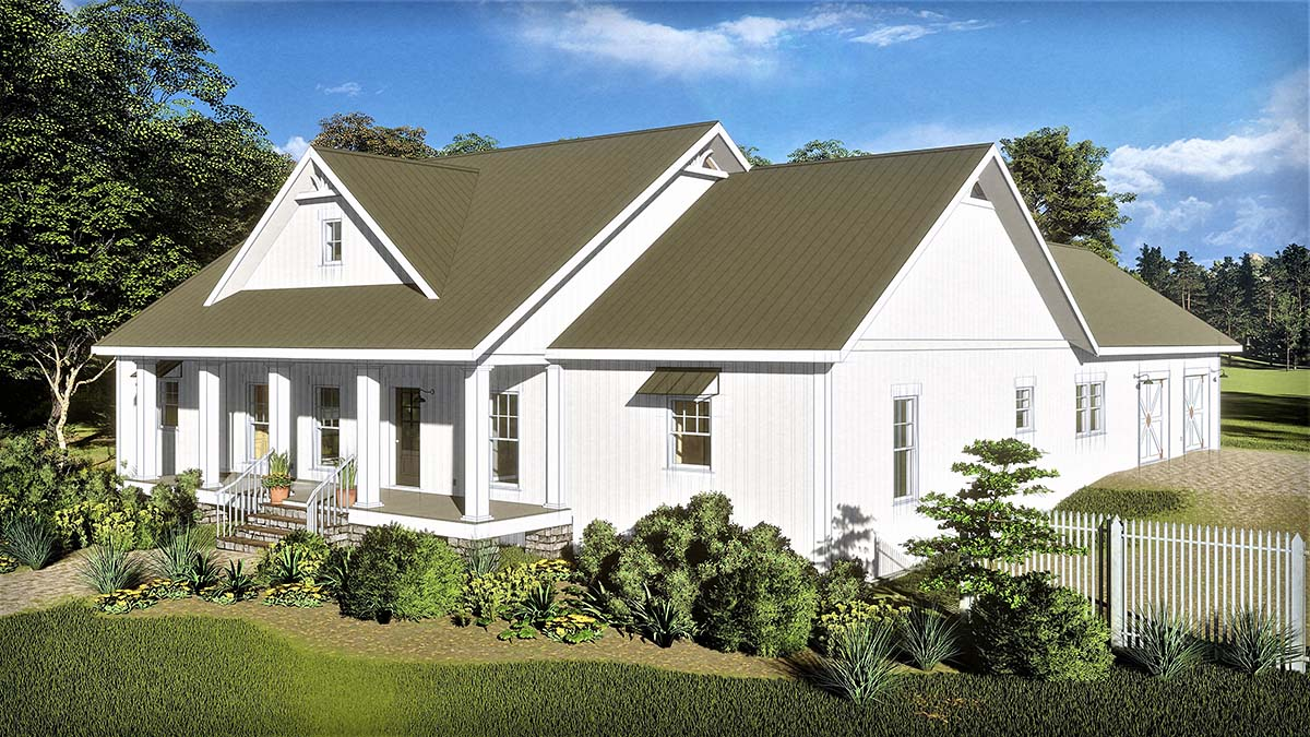 Country, Farmhouse, Traditional House Plan 77402 with 3 Beds, 3 Baths, 2 Car Garage Picture 1