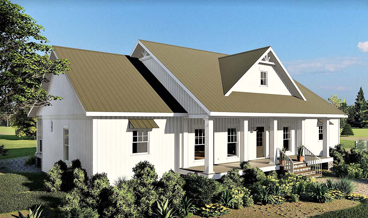 Country, Farmhouse, Traditional House Plan 77402 with 3 Beds, 3 Baths, 2 Car Garage Picture 2