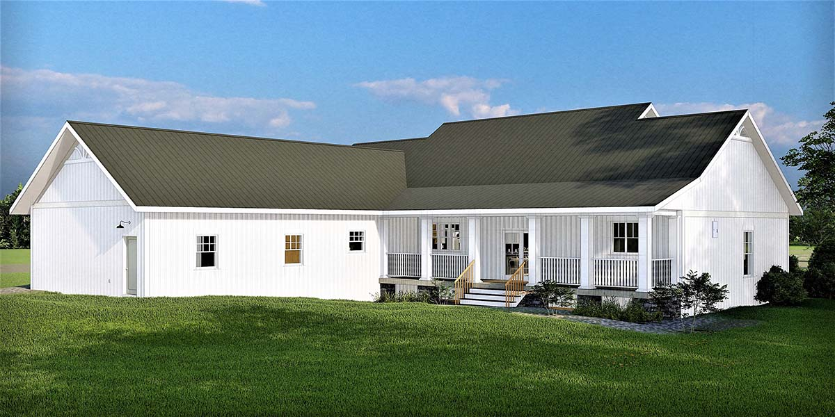 Traditional , Farmhouse , Country House Plan 77402 with 3 Beds, 3 Baths, 2 Car Garage Rear Elevation
