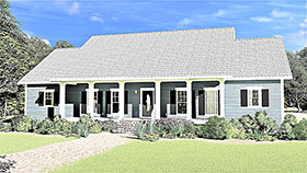Country , Ranch , Southern House Plan 77403 with 3 Beds, 3 Baths, 2 Car Garage Elevation