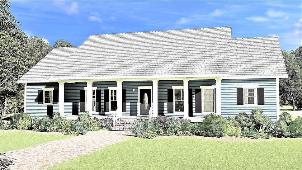 Country, Ranch, Southern House Plan 77403 with 3 Beds, 3 Baths, 2 Car Garage Elevation