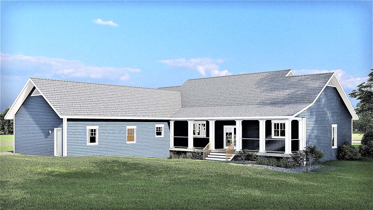 Country, Ranch, Southern House Plan 77403 with 3 Beds, 3 Baths, 2 Car Garage Rear Elevation