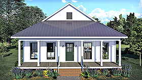 Country , Southern House Plan 77404 with 2 Beds, 1 Baths Elevation