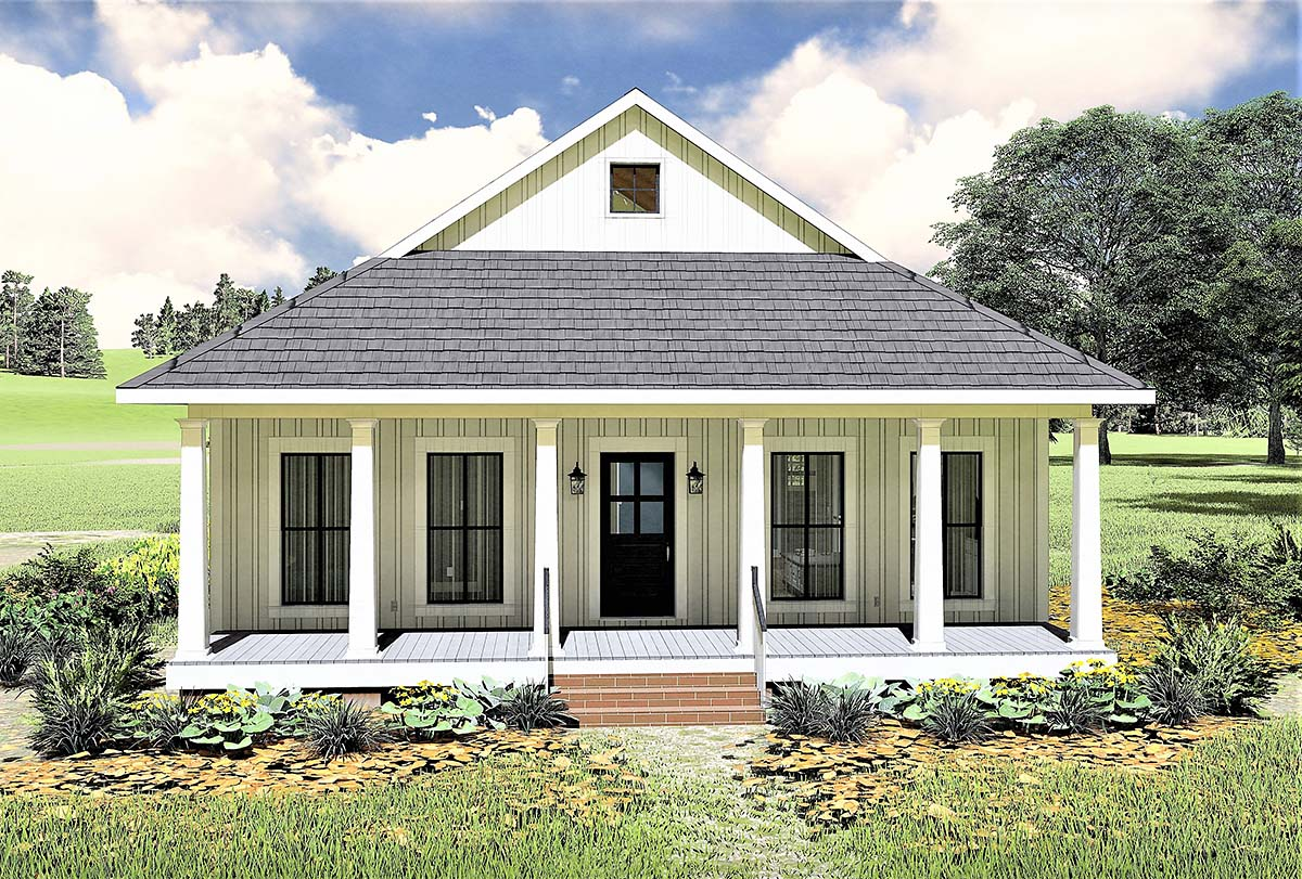 Country, Southern, House Plan 77405 with 2 Beds, 1 Baths Elevation