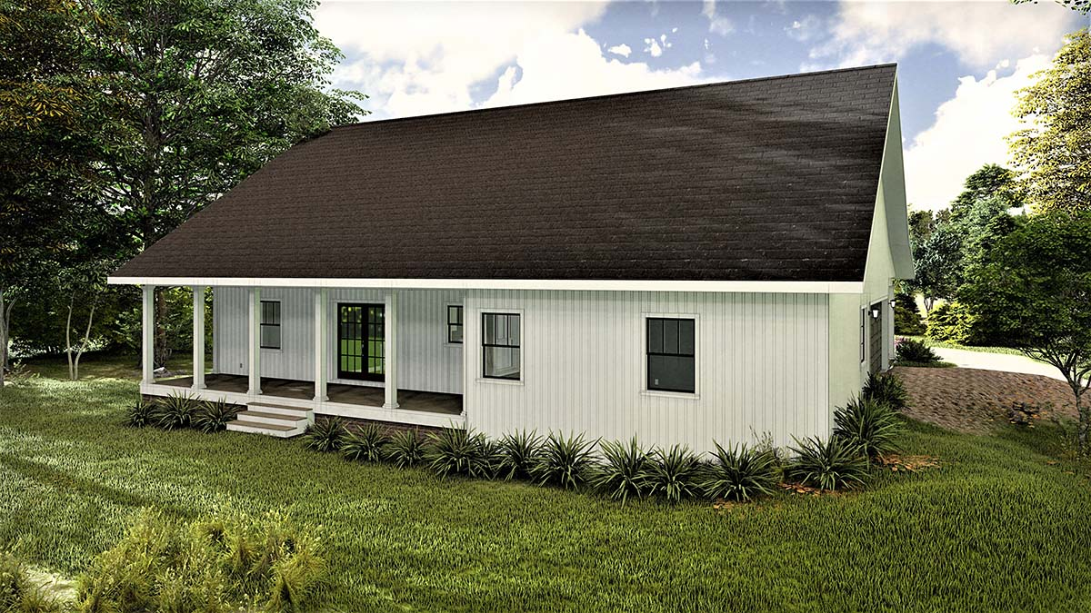Country Southern Rear Elevation of Plan 77407