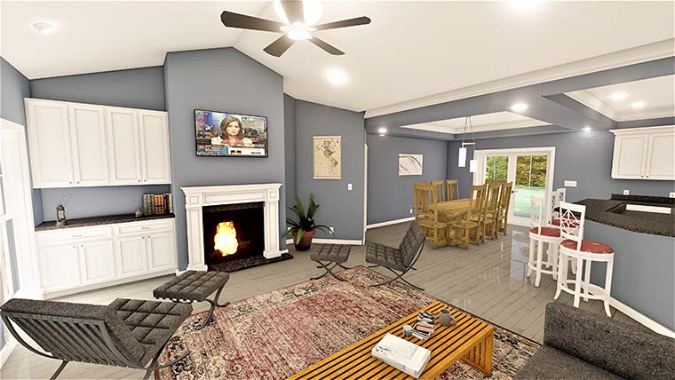 Country, Southern House Plan 77408 with 4 Beds, 3 Baths, 2 Car Garage Picture 5