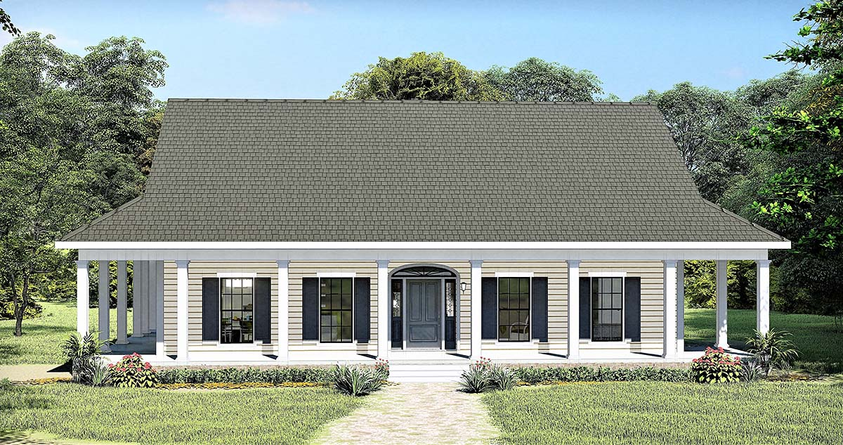 Country, Southern House Plan 77410 with 3 Beds , 3 Baths Elevation