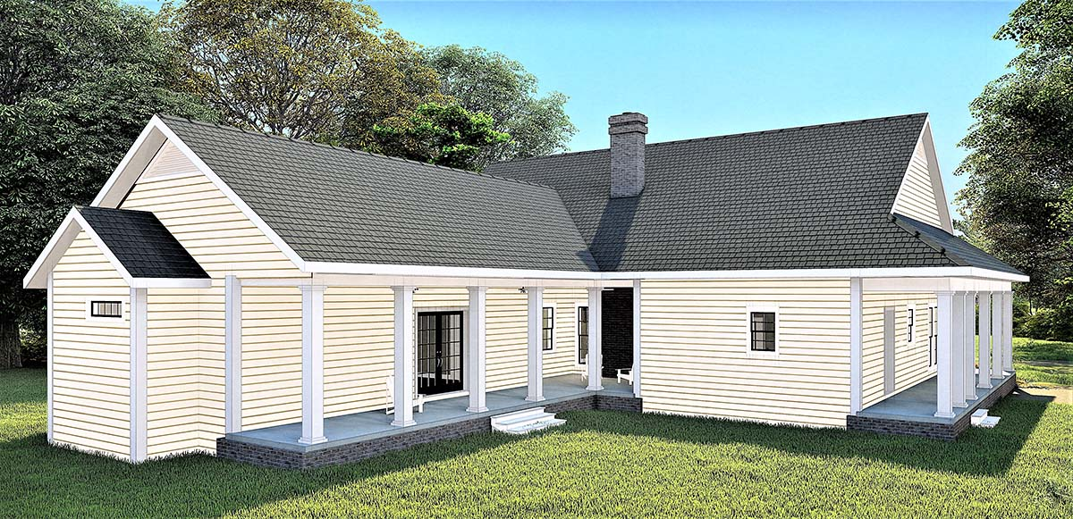 Country, Southern House Plan 77410 with 3 Beds , 3 Baths Rear Elevation