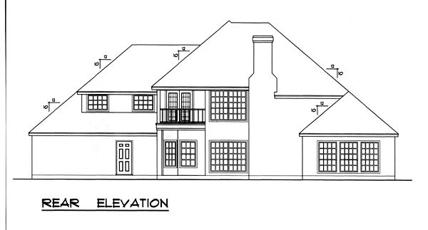 European House Plan 77732 Rear Elevation