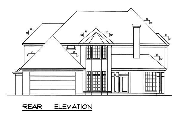 European House Plan 77735 Rear Elevation