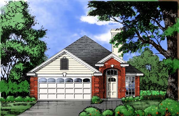 House Plan 77738 | Traditional Style Plan with 1484 Sq Ft, 3 Bedrooms, 2 Bathrooms, 2 Car Garage Elevation