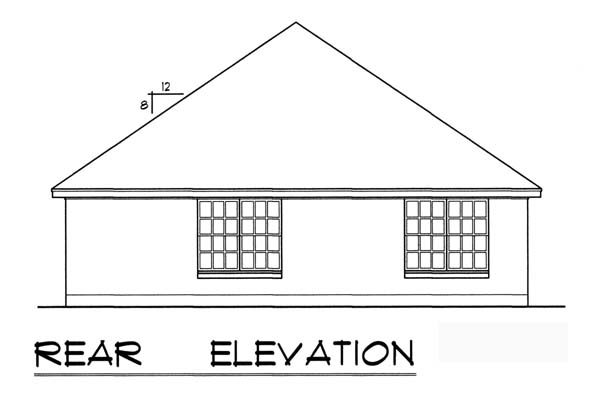 House Plan 77738 | Traditional Style Plan with 1484 Sq Ft, 3 Bedrooms, 2 Bathrooms, 2 Car Garage Rear Elevation