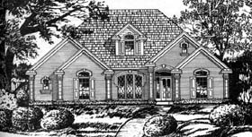European , Traditional House Plan 77740 with 4 Beds, 2 Baths, 2 Car Garage Elevation