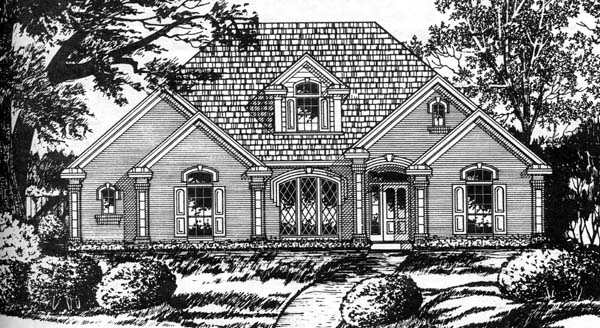 European Traditional House Plan 77740 Elevation