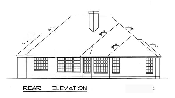 European , Traditional House Plan 77740 with 4 Beds, 2 Baths, 2 Car Garage Rear Elevation