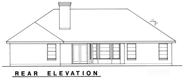Traditional House Plan 77748 with 4 Beds, 3 Baths, 2 Car Garage Rear Elevation