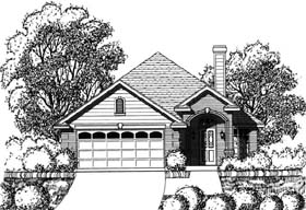 Traditional House Plan 77750 with 3 Beds, 2 Baths, 2 Car Garage Elevation