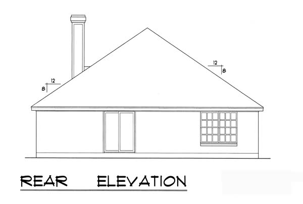 Traditional Rear Elevation of Plan 77750