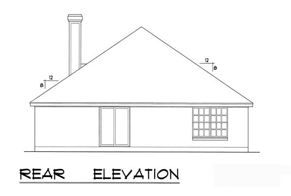 House Plan 77750 | Traditional Style Plan with 1647 Sq Ft, 3 Bedrooms, 2 Bathrooms, 2 Car Garage Rear Elevation