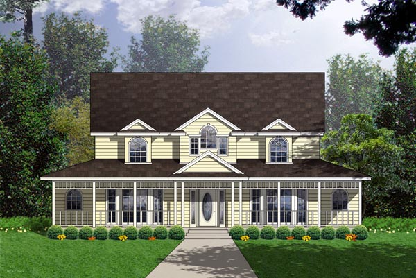 Country, Ranch, Southern House Plan 77751 with 5 Beds, 4 Baths Elevation