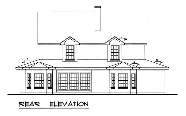 Country, Ranch, Southern House Plan 77751 with 5 Beds, 4 Baths Rear Elevation